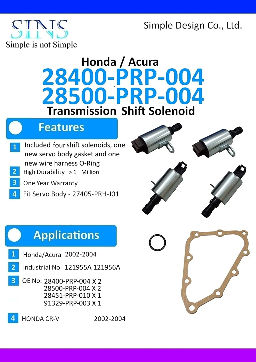 Amazon.com: Honda CR-V 02-04 Transmission Solenoid Kit(4pcs/set)  28400-PRP-004 28500-PRP-004 with Gasket and Wire Harness O-Ring: Automotive
