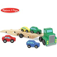 """Melissa & Doug Car Carrier Truck & Cars Wooden Toy Set (Compatible with Wooden Train Tracks, Quality Wood Construction, 13.8"""" H x 6.7"""" W x 3.35"""" L)"""