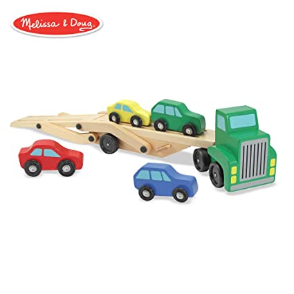 "Melissa & Doug Car Carrier Truck & Cars Wooden Toy Set (Compatible with  Wooden Train Tracks, Quality Wood Construction, 13 8"" H x 6 7"" W x 3 35"" L)"