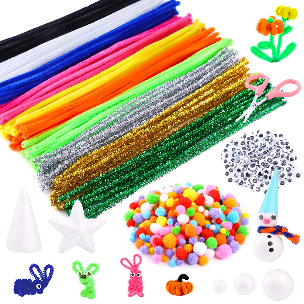 Pentagram and Scissor for Craft DIY Art Supplies Including 100 Pieces Pipe Cleaners 300 Pieces Pom Poms Caydo 650 Pieces Pipe Cleaners Set 250 Pieces Wiggle Googlys Eyes Cone White Foam Balls