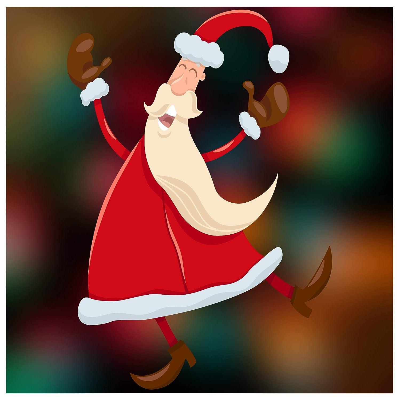 Stickers4 Dancing Santa Christmas Window Cling Sticker Decoration Small