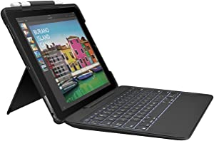 Logitech Slim Combo Keyboard Case for iPad Pro 10.5 inch - Detachable Wireless Keyboard with Backlit and Smart Connector - Bulk Packaging - Black