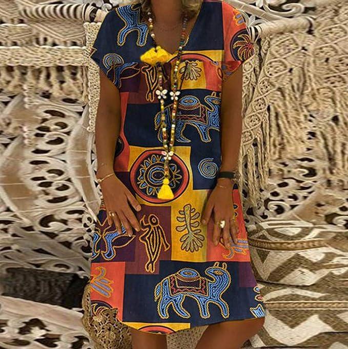 ... De Verano con Cuello En V Vestido Estampado Vintage Vestidos De Manga Corta para Mujer Vestidos De Cremallera para Mujer: Amazon.es: Ropa y accesorios