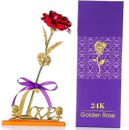 Cadeau Romantique Saint Valentin El/égante Rose Longue Tige /éternelle et Coffret Cadeau de Exquis Mariage Anniversaire Rose Eternelle F/ête des M/ères Mitening Or Rose 24K Plaqu/é