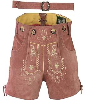 970337bf3a7a Edle Kurze Damen Lederhose mit Gürtel, Trachtenlederhose Frauen Kurz, Damen  Trachtenlederhose im Antik Wildleder