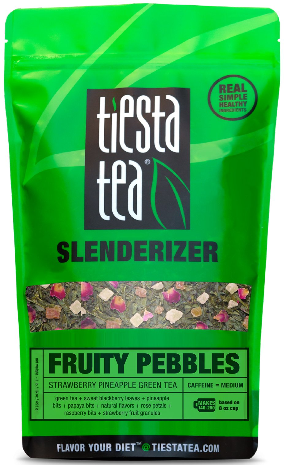 Tiesta Tea Fruity Pebbles, Strawberry Pineapple Green Tea, 200 Servings, 1 Pound Bag, Medium Caffeine, Loose Leaf Green Tea Slenderizer Blend