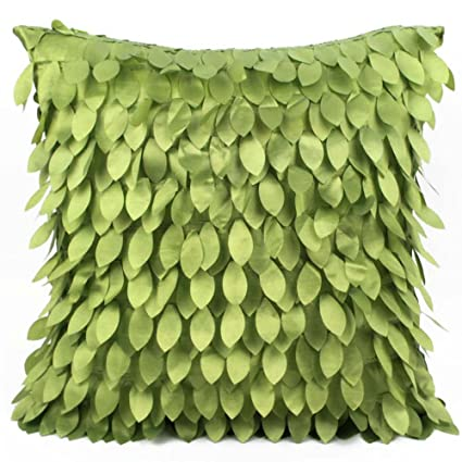 Best Satin Embroidered Leaves Square Pillow Cushion Pillowcase Case Cover  2-Piece 16