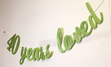 All About DetailsTM 40 Years Loved Cursive Banner 1set 40th Birthday
