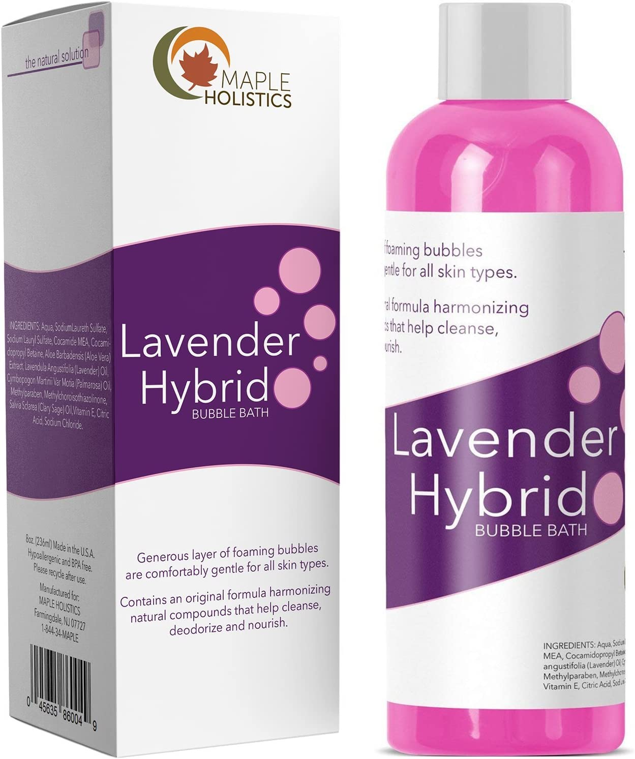 Relaxing Bubble Bath for Sleep – Pure Lavender Essential Oil and Aloe Vera – Aromatherapy Bath Soak for Dry Skin and Sore Muscles – Hypoallergenic Natural Skin Care for Men Women with Sensitive Skin: Health & Personal Care