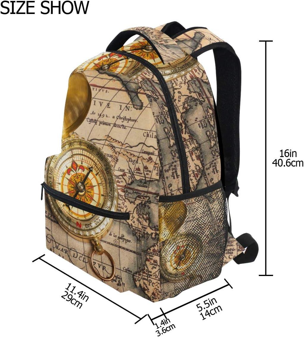 BKEOY Rucksack Vintage Kompass Karte Multifunktions-Daypack f/ür Herren Damen Jungen M/ädchen Reise Wandern Camping Schule B/üchertasche