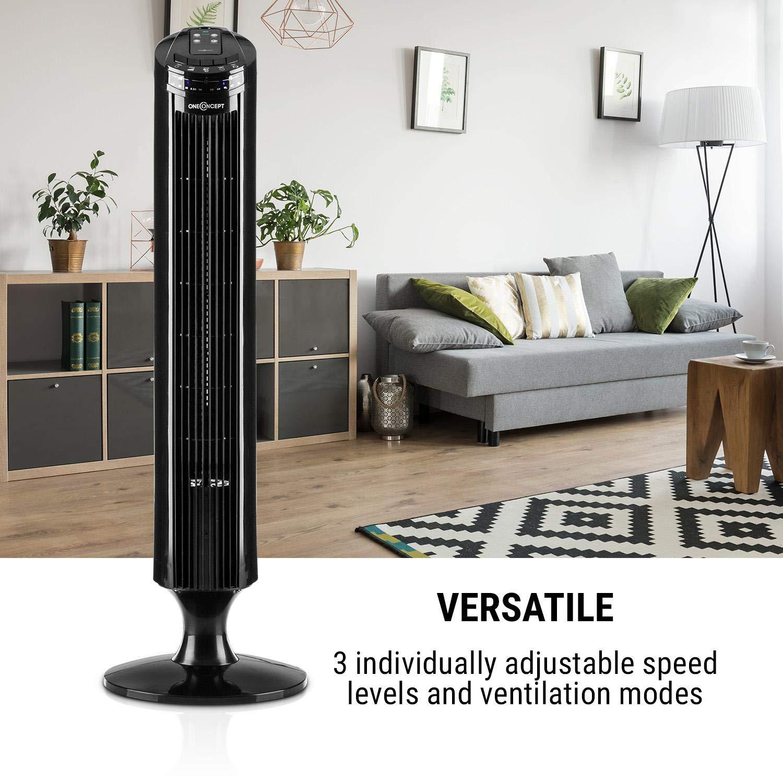 OneConcept Blitzeis Black Line /• Ventilateur Colonne /• Fonction Oscillation activable /à sur 45/° /• Peu encombrant /• LED t/émoins /• Panneau Tactile /• T/él/écommande /• 3 Modes /• Noir