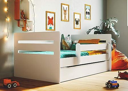 Lit Enfant Wonderhome24 Lit Blanc pour Enfants avec Matelas et tiroir Inclus Animaux Voitures |