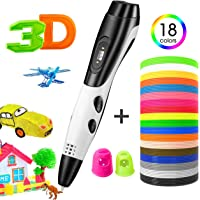 TOPELEK 3D Pen for Kids, 3D Printing Drawing Pen, Intelligent Doodling Pen with 18 Color Kid-Safe PLA Filament, LED Display, USB Charging, Safe and Easy to Use, Perfect Gift for Kids & Adults, White