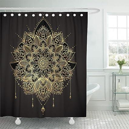 Amazoncom Tompop Shower Curtain Ornamental Lotus Flower Ethnic