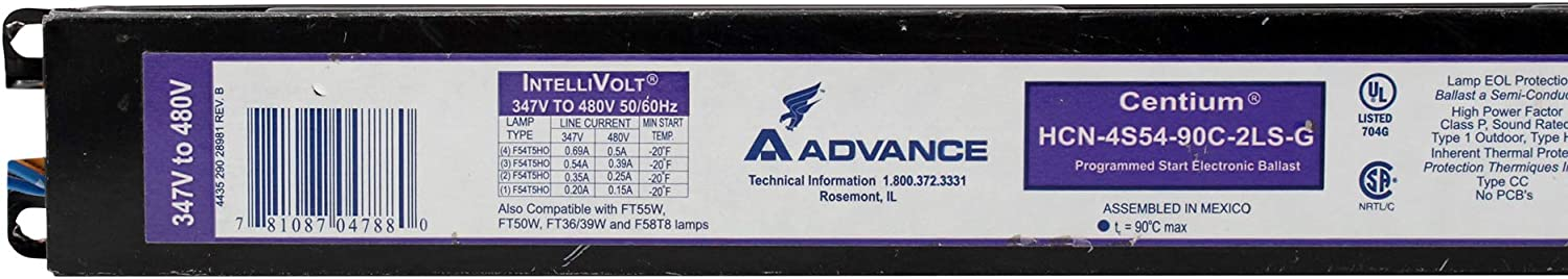 Philips Advance ICN4S5490C2LSG35M Electronic Fluorescent Ballast 120 to 277 VAC T5HO Lamp Programmed 54 W