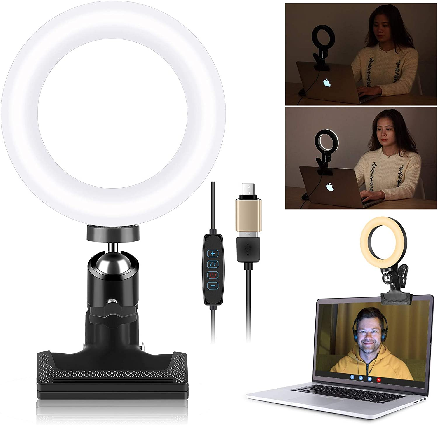 EACHSHOT Video Conference Lighting Kit with Clamp Mount 4.5