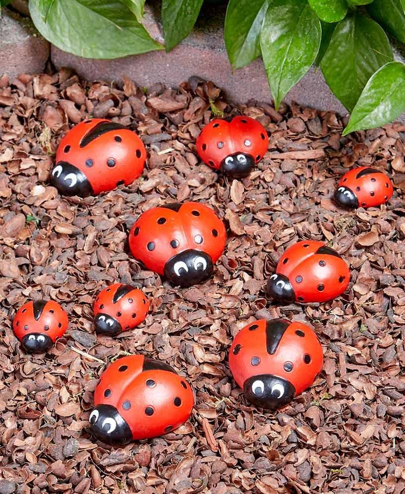 LTD Ladybug Garden Stones - Decorative Outdoor Ornaments - Set of Nine