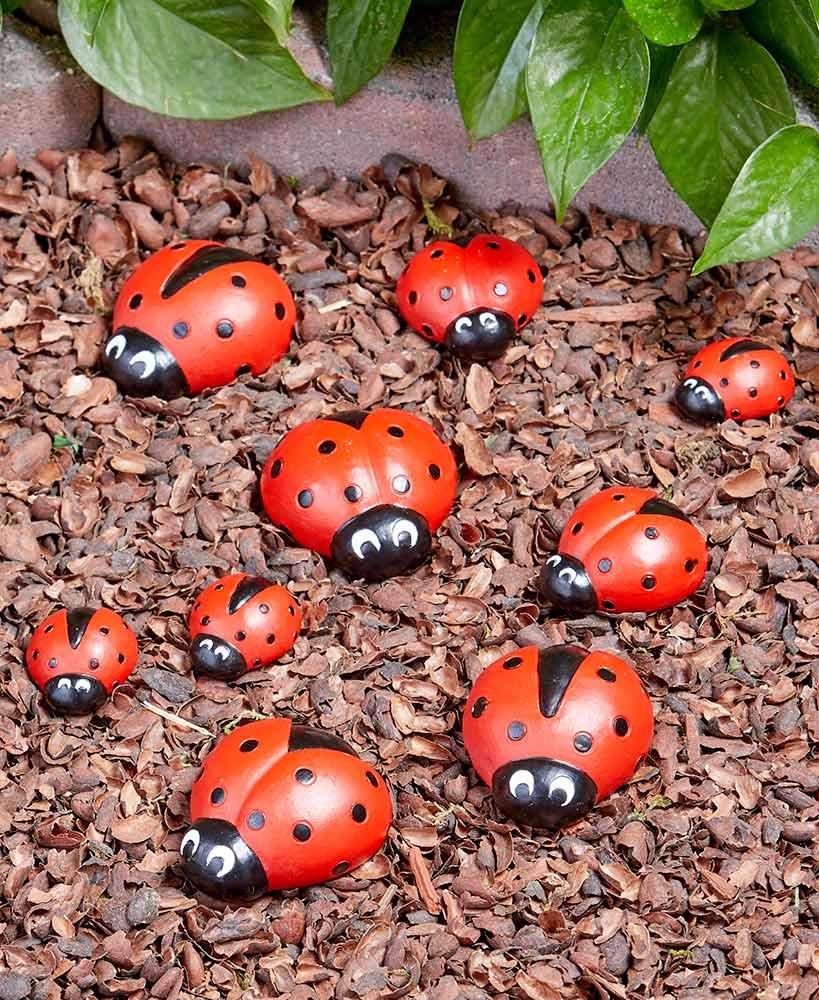LTD Ladybug Garden Stones - Decorative Outdoor Ornaments - Set of Nine