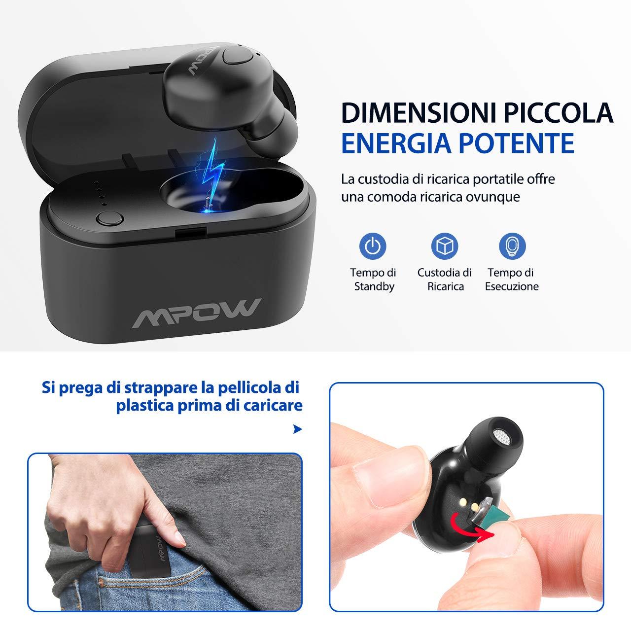 Mpow Auricular Bluetooth 5.0, EM14 Mini Auricular Inalámbrico Manos Libres con Caja de Carga Portátil, Auriculares Invisible Micrófono In-Ear Estéreo ...