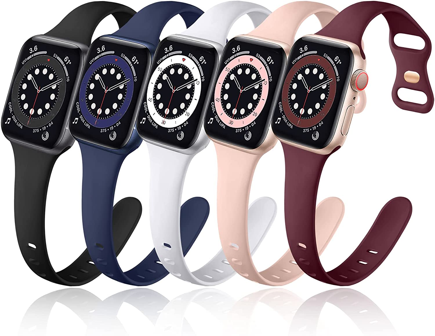 Muranne 5 Pack Bands Compatible with Apple Watch 40mm 38mm 42mm 44mm iWatch SE & Series 6 5 4 3 2 1 for Women Men, Cute Slim Narrow Durable Water Resistant Soft Silicone Sport Replacement Wrist Strap