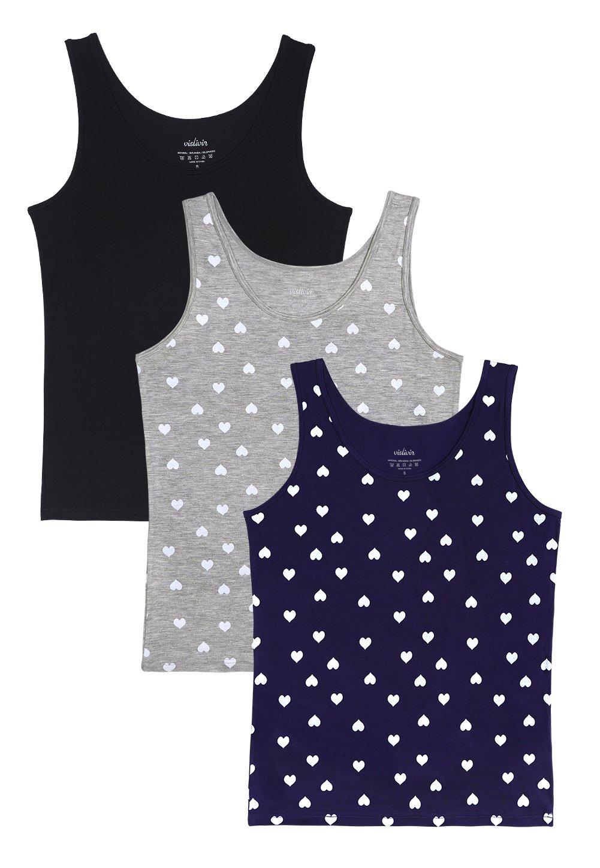 Vislivin Womens Supersoft Camisole Stretch Casual Tank Tops Black/Gray/Dark Blue Love L
