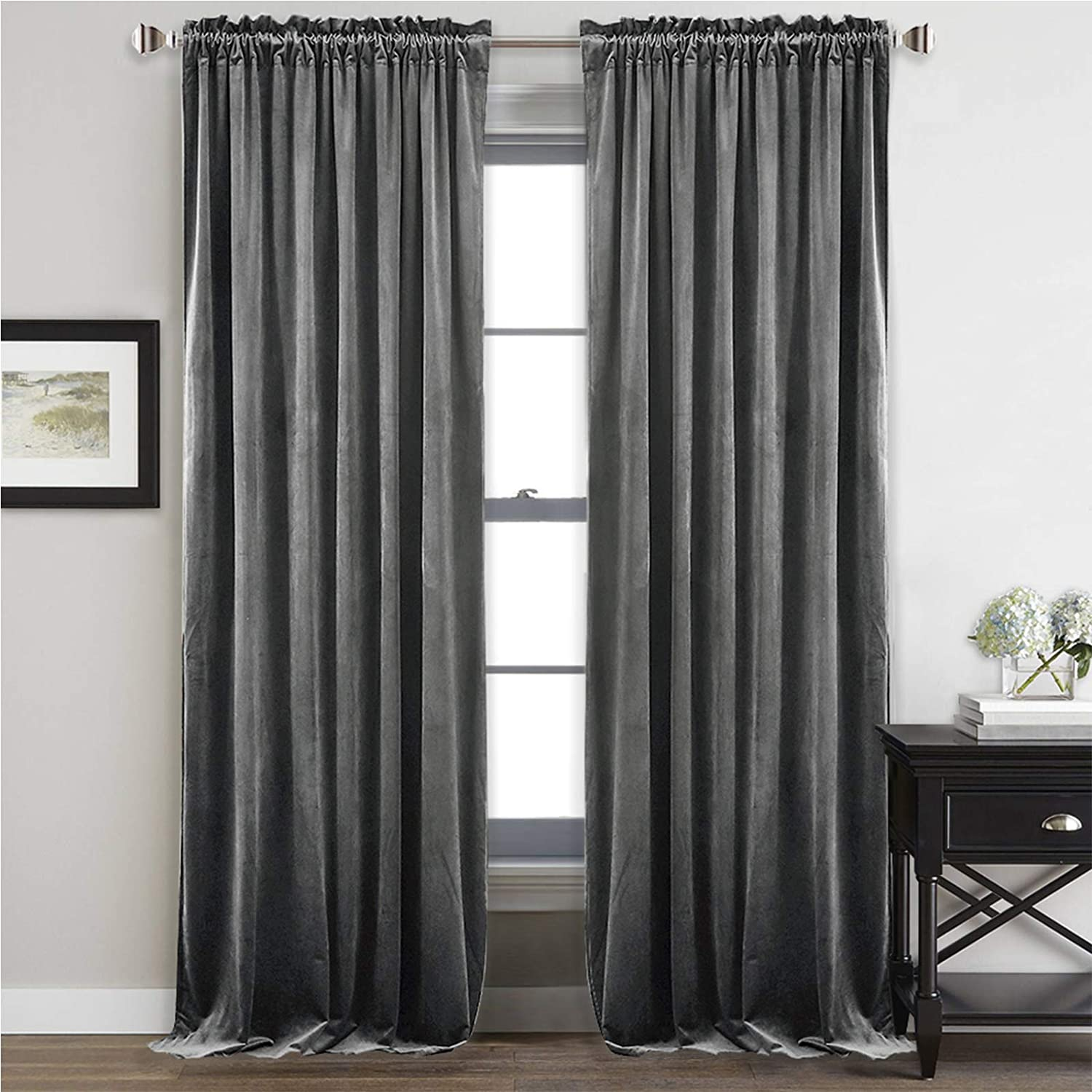 Amazon Com Stangh Gray Velvet Curtains 96 Inches Bedroom Luxury Velvet Curtain Panels Blackout Draperies Heat Insulated Sliding Door Panel Drapes 52 By 96 Inches Long 2 Panels Kitchen Dining