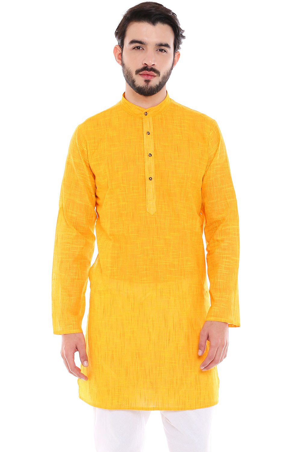 In-Sattva Men's Indian Classic Pure Cotton Kurta Tunic with Mandarin Collar; Yellow; MD