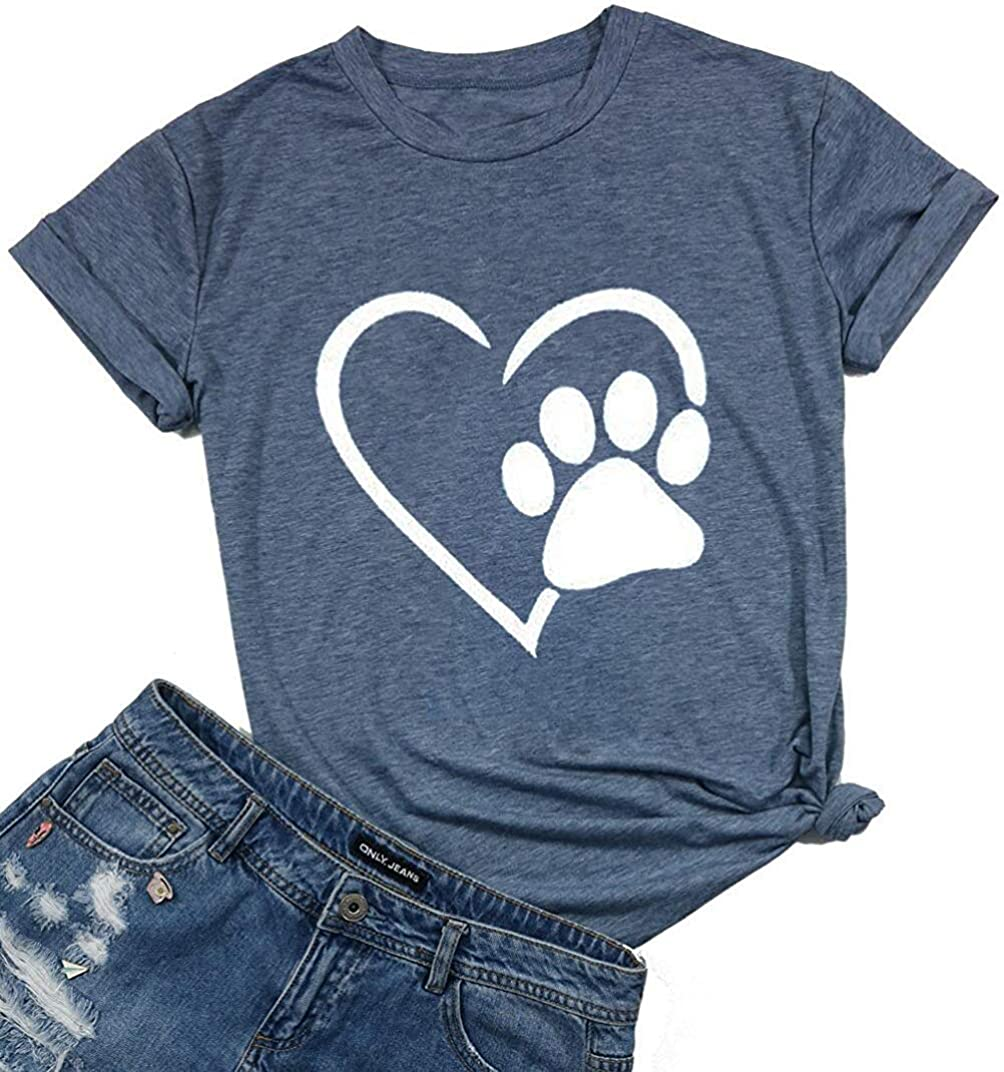 Dog Paw Love Heart Print T-Shirt for Women Short Sleeve Dog Mom Graphic Tees Tops Mother's Day Shirts
