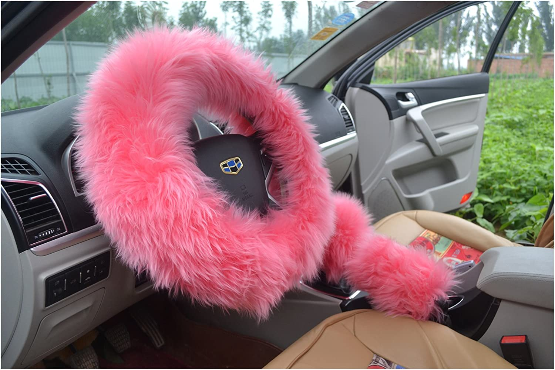 BELLESIE 3pcs 1 Set Soft Fluffy Plush Australian Wool Car Steering Wheel Cover with Handbrake Cover /& Gear Shift Cover for 14.96 X 14.96 Steeling Wheel in Diameter