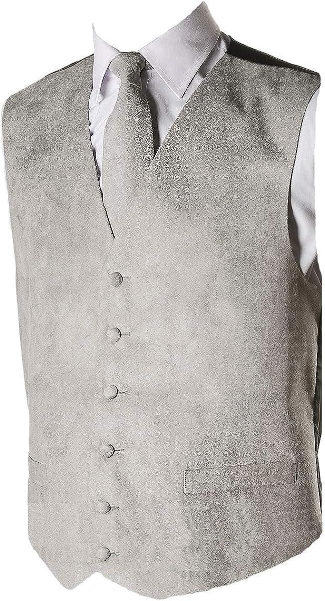 Mens Grey Suede Effect Waistcoat large