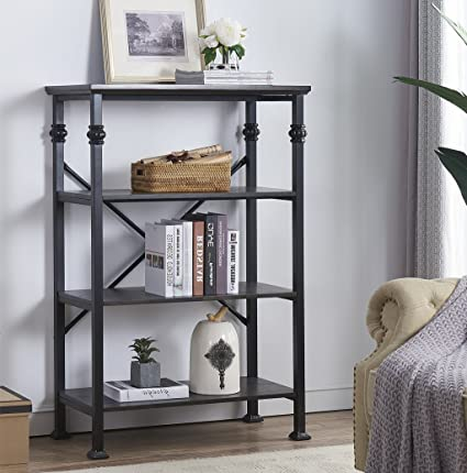 OK Furniture 4 Tier Vintage Industrial Style Bookshelf Wood And Metal Bookcase Storage Shelves