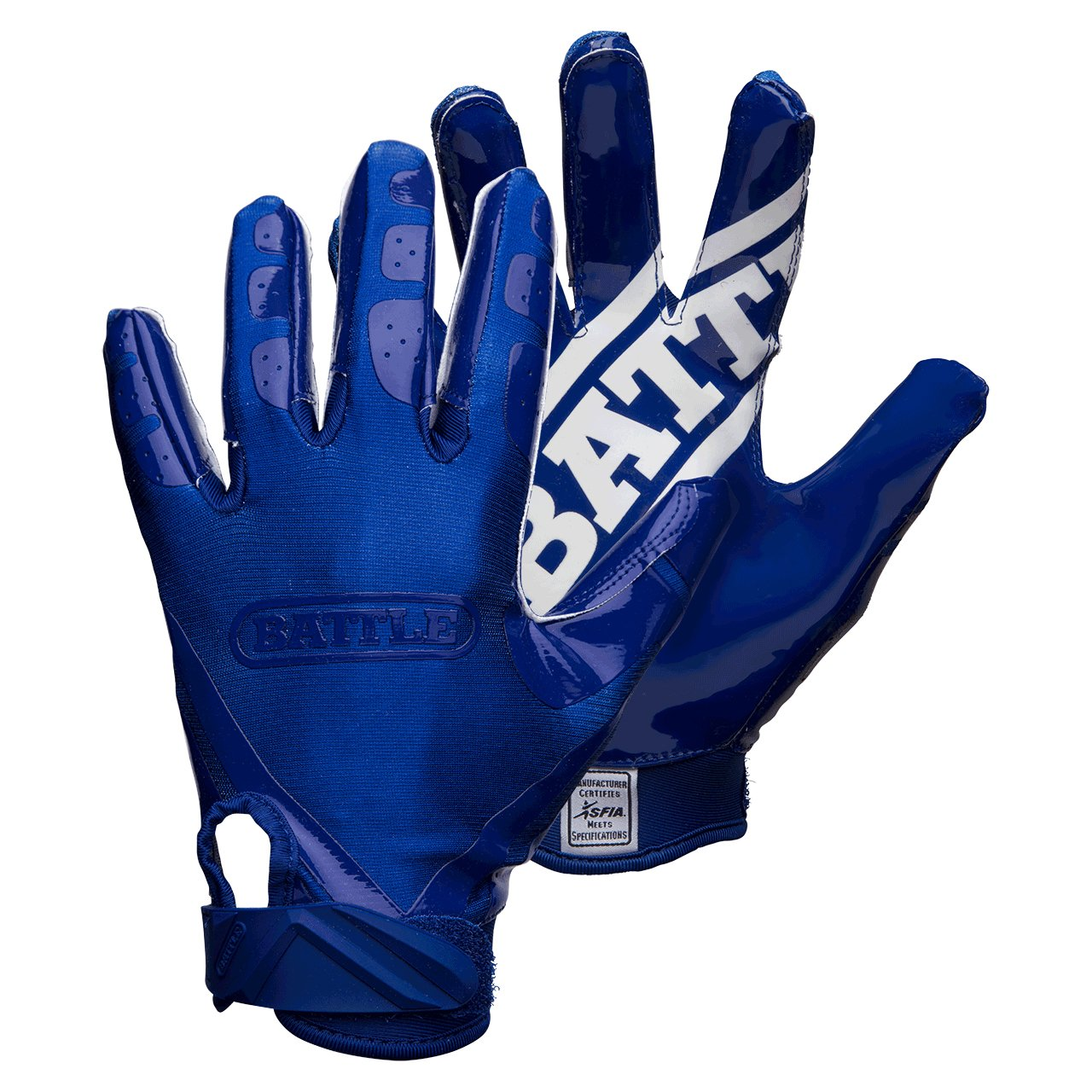 Battle Double Threat Adult Football Gloves, Navy/Navy, Small