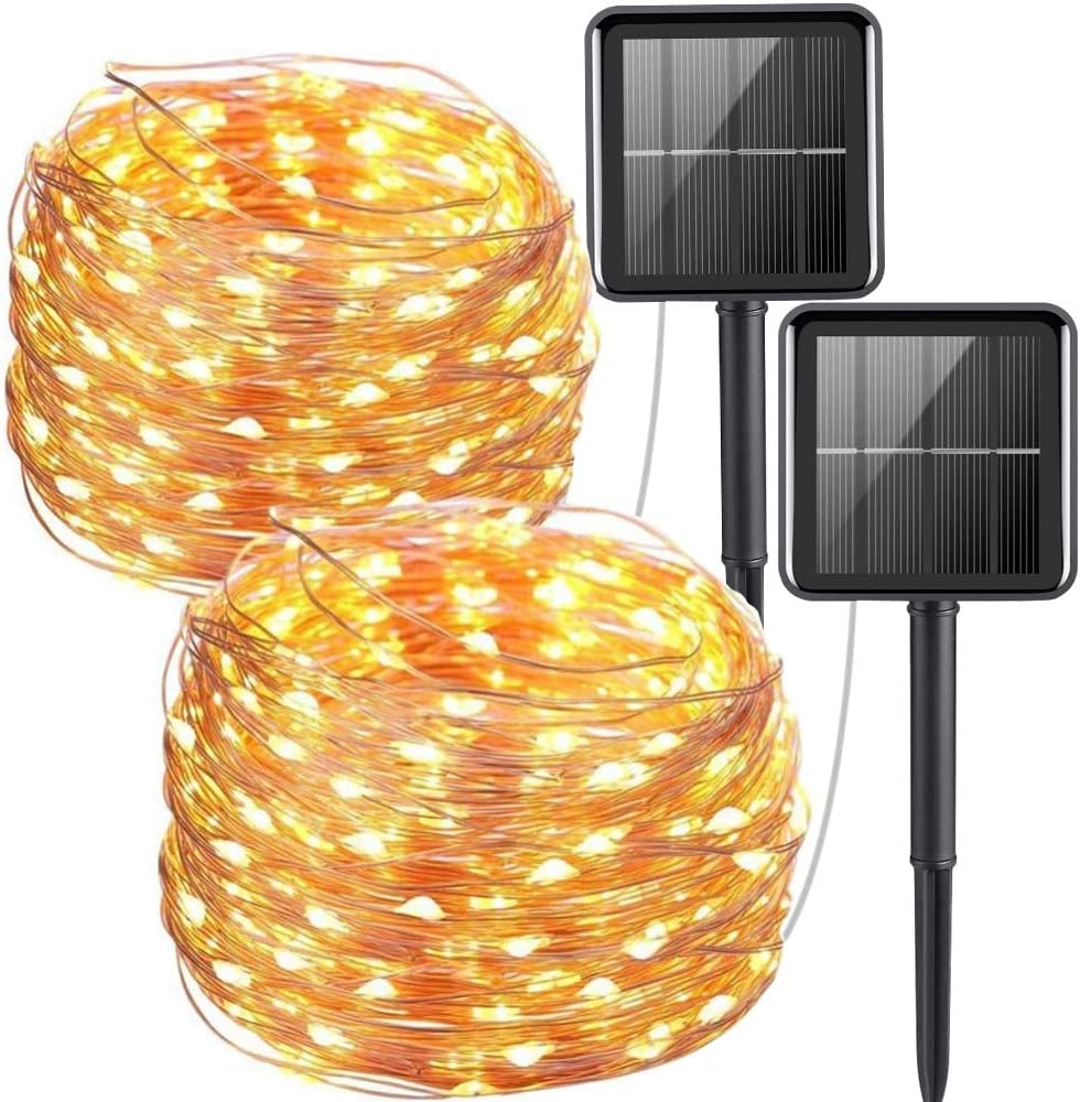 2 Pack Outdoor Solar String Lights,33FT 100 LED Solar Powered Fairy Lights 8 Modes Waterproof Outdoor/Indoor Garden Lights Copper Wire Lightingfor Christmas, Bedroom, Patio, Wedding, Party