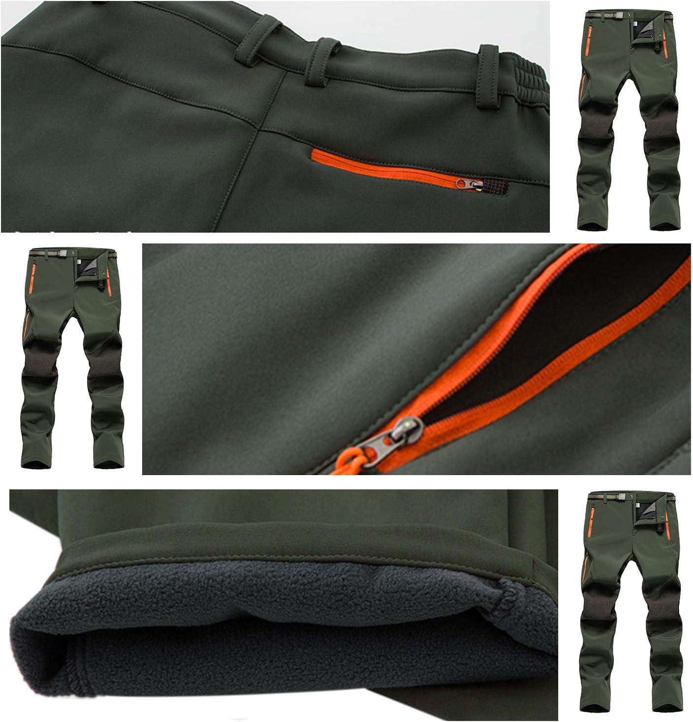Naudamp Pantalones Softshell para Hombre Pantalones de Escalada Forrada de vell/ón de Secado r/ápido Pantalones de Deporte de esqu/í para Caminar al Aire Libre c/álidos para Invierno//oto/ño//Primavera
