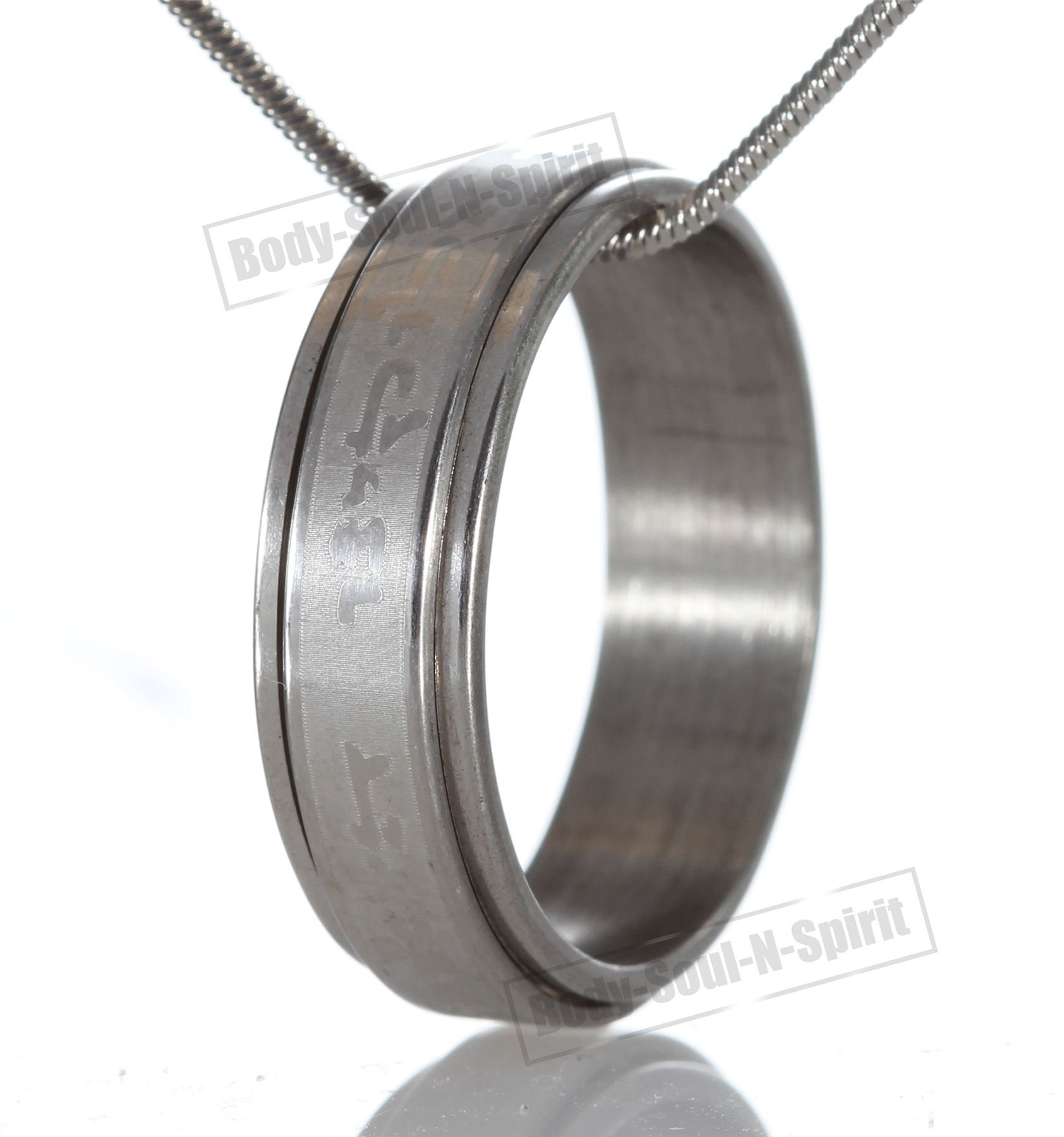 Stylish Ring Hoop Circle Pendant Shema Israel Silver Necklace Fashion Jewelry