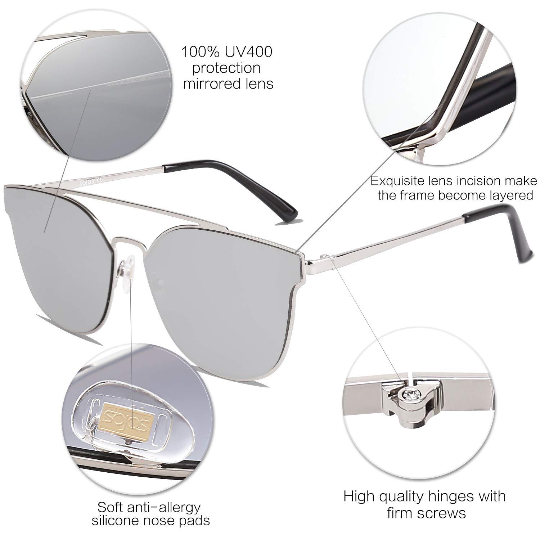 SOJOS Gafas De Sol Para Mujer Hombre Alta Calidad Oversiezd Metal Plano SO  SHINE Con Marco Plateado Lente Espejo Plateado  Amazon.es  Ropa y accesorios 644548f566b3