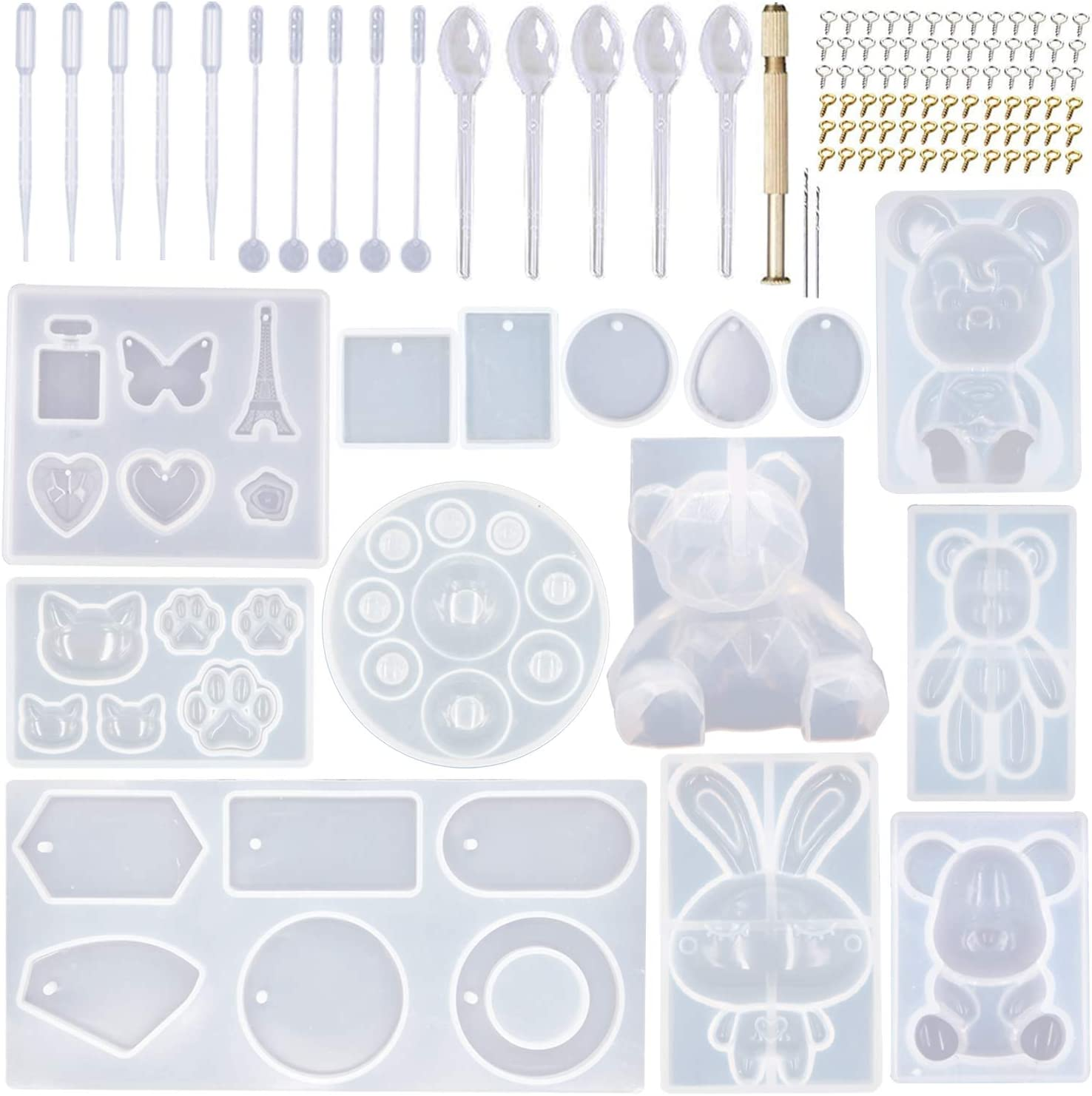 Chain Rabbit Pendant Silicone Mold Jewelry Making Tools UV Epoxy Resin Mould