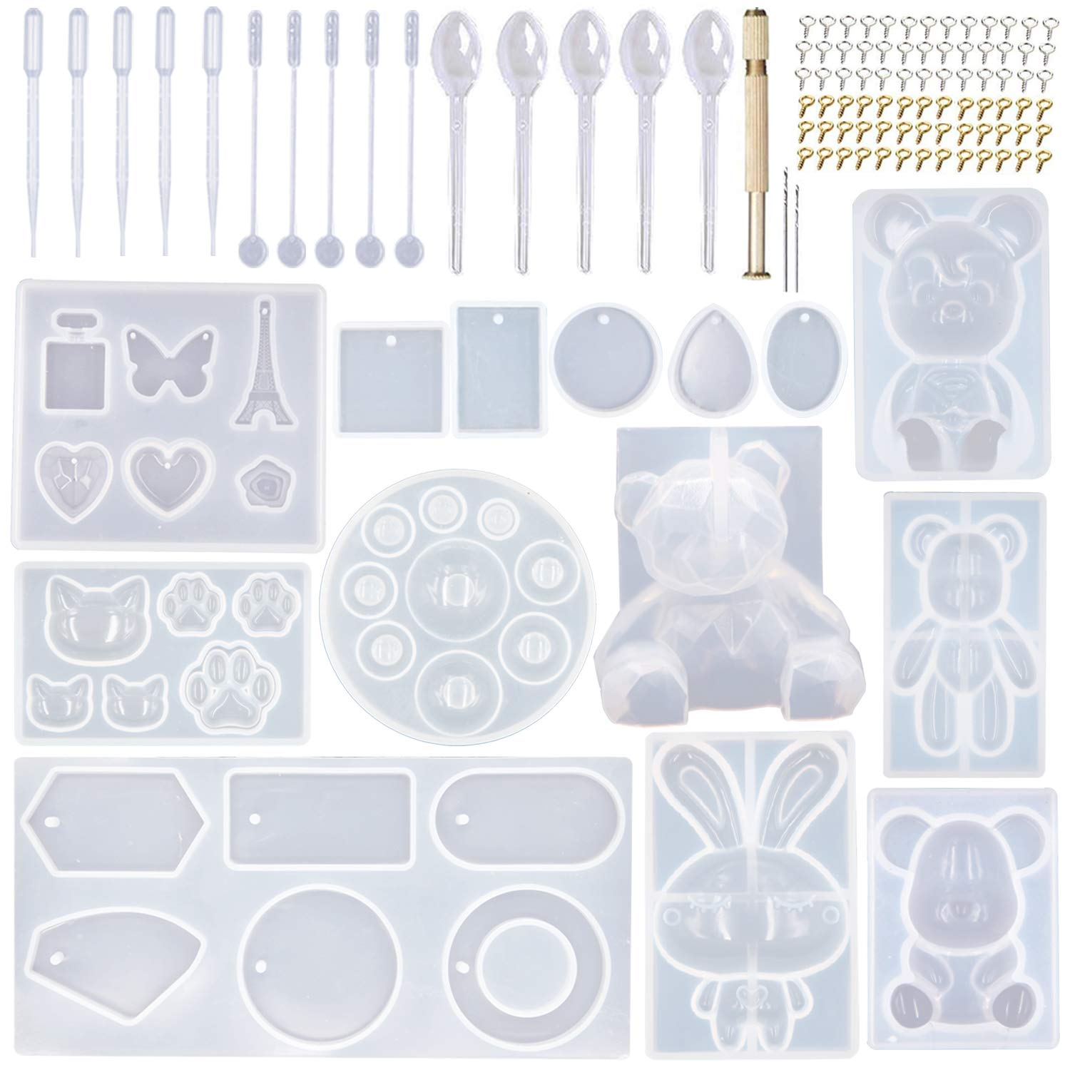 EuTengHao 132Pcs Animal Silicone Molds DIY Resin Casting Molds Kit Contains 4 Bears Resin Molds Rabbit Cat Paw Mold Necklace Pendant Resin Molds Time Gem Eiffel Tower Jewelry Crystal Resin Mold by EuTengHao
