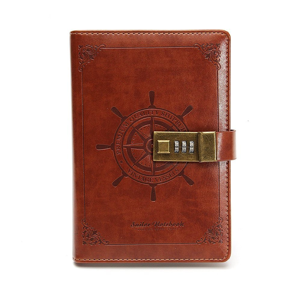 Longpro Vintage Retro Voyage PU Leather Writing Journal Notebook, B6 Size Password Diary Notepad with Combination Lock, Card Slots, Pen Holder(Pen Not Included) (Brown)