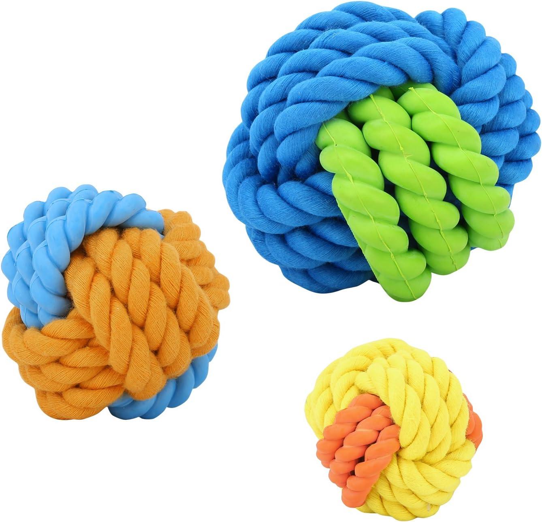Juguete Mordedor de Goma de Cuerda con Bolas para Perro para Limpiar los Dientes Multicolor Pawaboo Juguetes de Cuerda para Cachorro,3 PCS Mascota Juguetes para morder