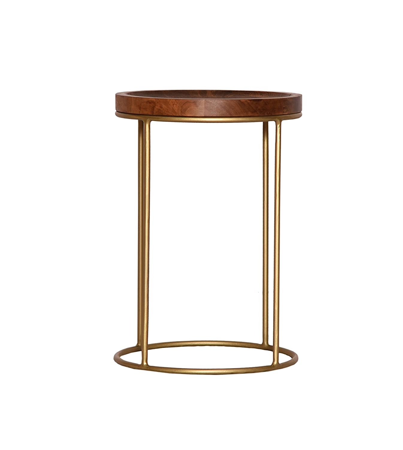 Delphyne Solid Acacia Wood Round Side Table (Brown/Brass, S:30x30x43 cm) ASPECT