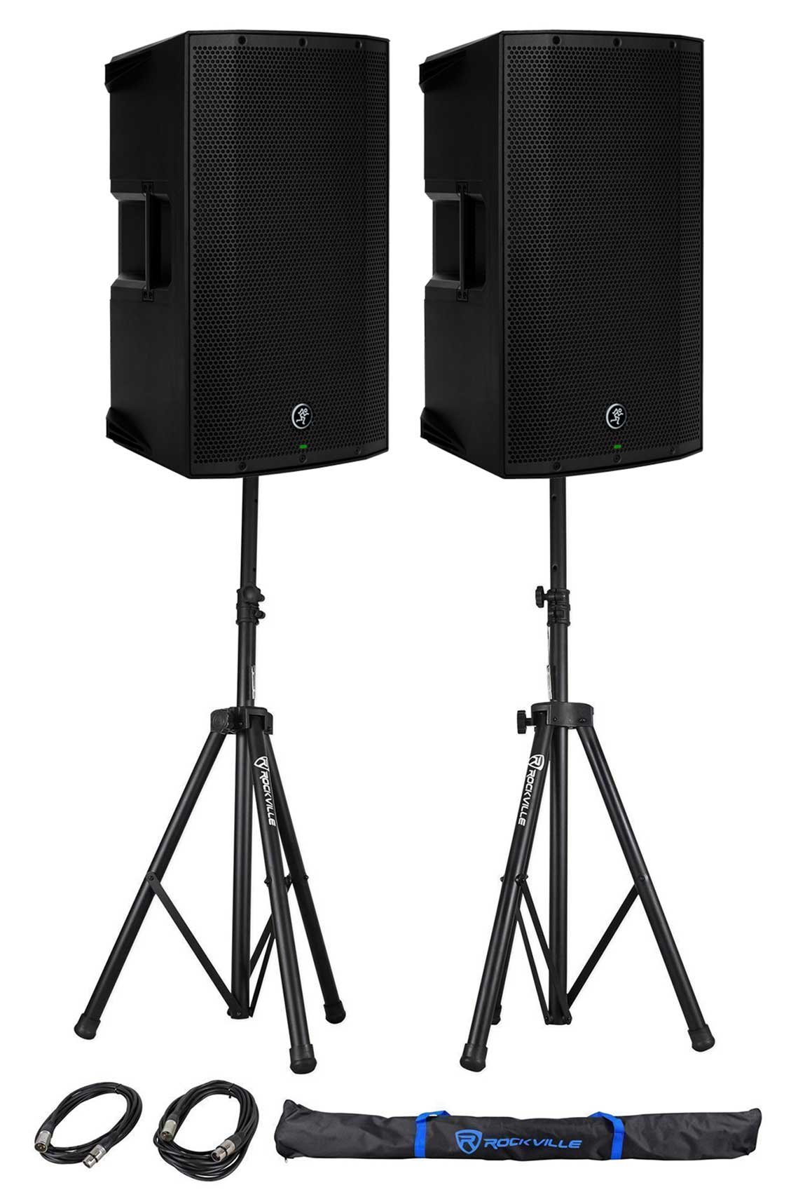 (2) Mackie Thump12BST THUMP-12BST 12'' 1300w Powered DJ PA Speakers+Stands+Cables by Mackie