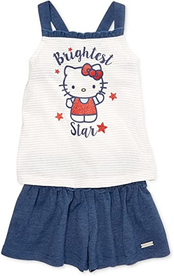 Hello Kitty Little Girls Graphic-Print Tank Top /& Shorts Set Size 4 Blue//White