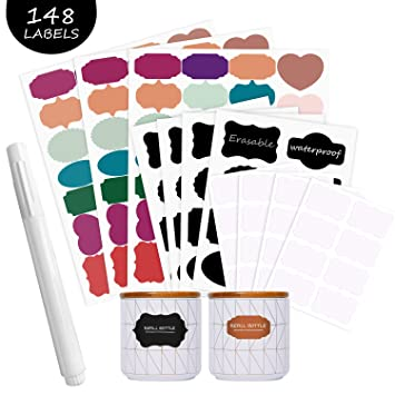 Pegatinas reutilizables para etiquetas de pizarra, autoadhesivas, 148 pegatinas impermeables de colores, etiquetas adhesivas removibles, perfectas ...