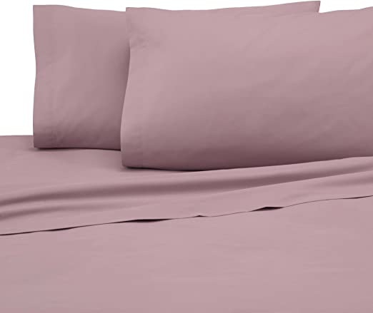Plum Percale Fitted Sheet Bed Non Iron King Size 60/% Cotton
