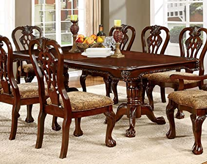 Tremendous Amazon Com Elana Brown Cherry Wood Dining Table W Leaf By Download Free Architecture Designs Rallybritishbridgeorg