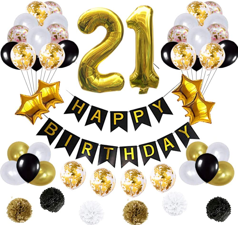 21st Birthday Decorations Ballons, Happy Birthday Banner/pom pom Flowers/Gold Mylar Balloons/Latex Balloons/Number 21 Foil Ballons Gold