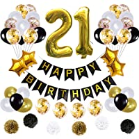 21st Birthday Decorations Ballons, Happy Birthday Banner/pom pom Flowers/Gold Mylar Balloons/Latex Balloons/Number 21…