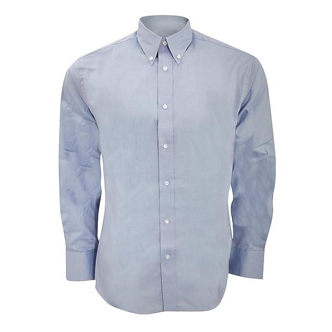 Kustom Kit - Camisa ajustada de manga larga Modelo Oxford Premium - Trabajo/Boda/
