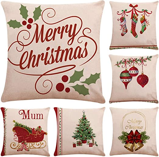 """POTTERY BARN ~ PAINTED SANTA CLAUS HOLIDAY CHRISTMAS RED PILLOW COVER 20/"""""""